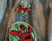 Sweet Red Poppies Original Art Locket