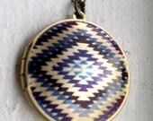 Navajo geometric locket necklace