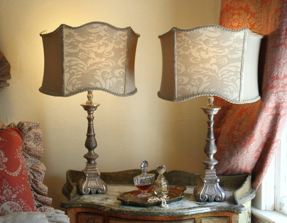 Pair Large Fortuny Shades - Antique Pewter Lamps