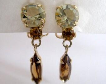 Vintage 1990s Earrings Gold tone Peridot Topaz Citrine Glass Rhinestone Clip Ons