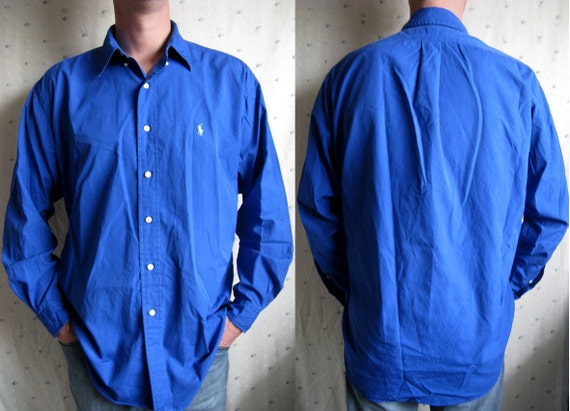 Vintage 1980s Polo Shirt- Royal Blue Long Sleeve Mens Top by Ralph Lauren Large