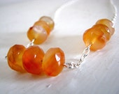 Carnelian Stone and Silver Chain Fireside Necklace
