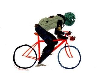 MW suburban war bicycle .  Doom Division . print