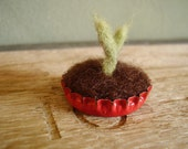 Felted wool seedling in an upcycled bottlecap