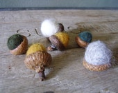 Felted acorns, set of 6, Friendly Pine Forest Medley, yellow felt acorns, fall table decor, waldorf autumn, woodland birthday decor