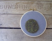 Star moss embroidery hoop, mossy wall decor made with felted wool and upcycled dusty blue linen, 4.5 inches