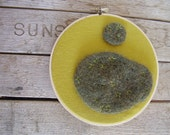 Star moss embroidery hoop, wall decor made with felted wool and upcycled yellow linen, 6.5 inches