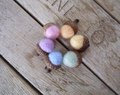 Felted wool acorns, set of 6, Pastel Sherbet Rainbow, Springtime home decor, Easter gift, handmade waldorf gifts, pastel rainbow wool acorns