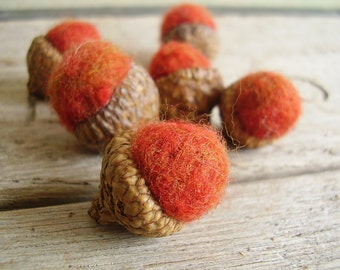 Felted wool acorns, set of 6, Deep Orange