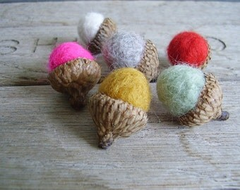 Felted wool acorns, set of 6, Summer Rainbow, woodland birthday, bright felt acorns, summer home decor, needle felted acorns, gifts under 15