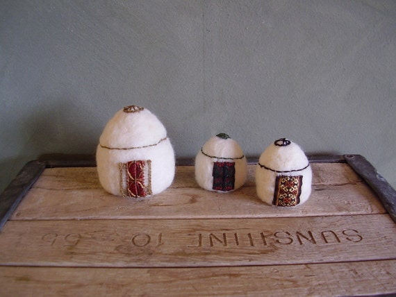 Felted yurts, set of 3 small embroidered wool sculptures