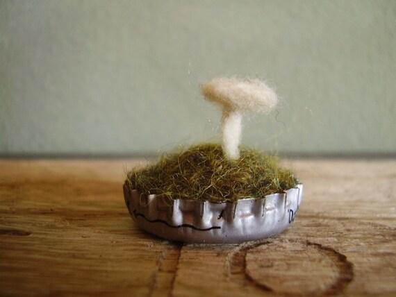 Wool Natural White mushroom in a bottlecap, silver, a tiny wool garden, for woodland desk decor and fairy houses, mini white felt mushroom