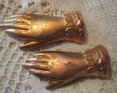 Reserved for Melissa Woogin - Vintage French Hands with Ornate Cuffs; Original Vintage Heavy Struck Brass, Victorian Style  , 38mm 2 Pc