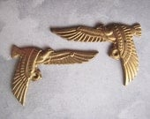 Vintage Egyptian Birds, Stamped Brass, left face and right face, One Pair
