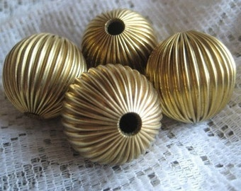 Vintage Hollow Brass Corrugated Round Beads, Large 25mm, 1 Bead