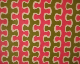 """Vintage Wallpaper, 1960s Op Art Bright Pink and Olive Green Puzzle Design, Mod, Groovy and Wild, Paper Craft/Scrapbook Supply, 1 yd x 20.5"""""""