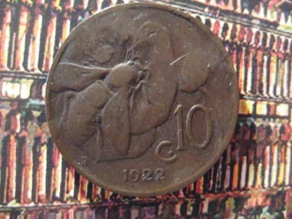 1922, Italy, Copper Coin, 10 Centesimi, Honey Bee and Vittorio Emanuele III (b)