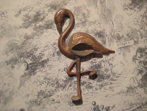Vintage 65mm Stamped Brass Flamingo