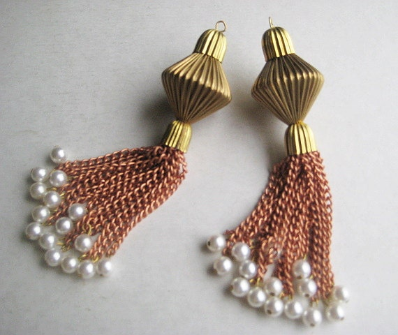 1 pair Huge Vintage Chain Tassel Drops with Corrugated Ribbed Beads and Caps