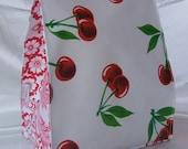 """Oilcloth Lunch Bag - Cherry """"Sakura"""""""