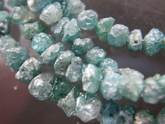 BLUE UnCuT DIAMOND Beads. Rough. Medium  Sizes.  bLuE.  HALF Strand. 8 inches.(dia-blu)