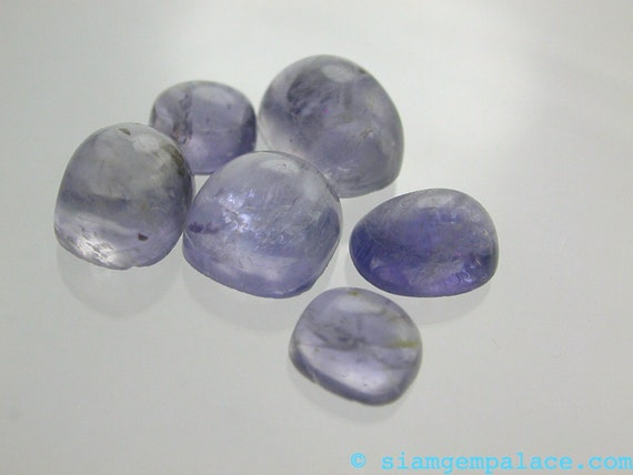 IOLITE Petite. CaBoChons. Micro Facet Honeycomb. HIGH dome. 6 pcs. 7x6 to 10x7.5 mm (ref.IO175)
