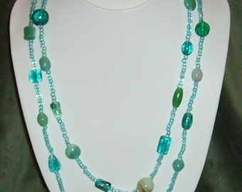 Aqua Frost Glass Beaded Necklace