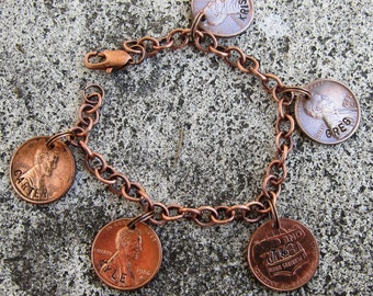 Hand Stamped Custom Penny Charm Bracelet -  with 1+ Personalized Pennies  -Made to Order-