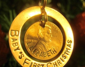 Hand Stamped Penny Ornament - Baby's First Christmas -Made to Order-
