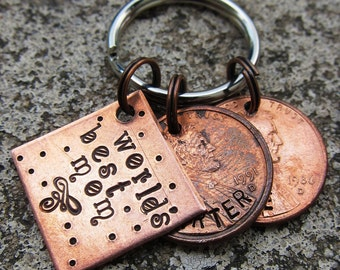 "Family keychain - Custom Hand Stamped 3/4"" Square keychain Plus 2 pennies"