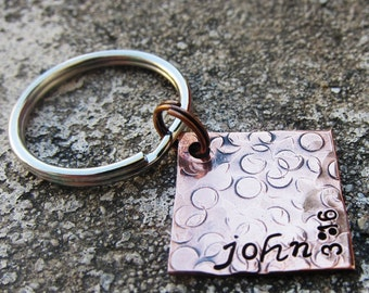 """Bible Verse John 3:16 - Textured Hand Stamped 3/4"""" Square keychain"""