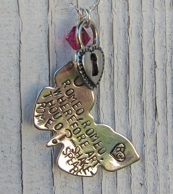 Romeo, Romeo why are you on my necklace - A Shakespeare quote - Hand Stamped Necklace    -Ready to ship-