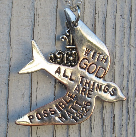 Bible Verse Necklace Matt 19: 26 With God all things are possible - Hand Stamped