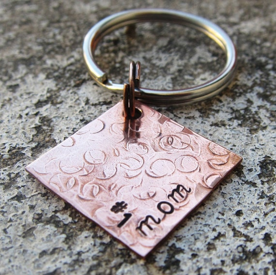 "Number 1 Mom - Textured Hand Stamped 3/4"" Square keychain"