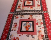 Valentine Reproduction Quilted Placemats Vintage Theme Retro Set of 2