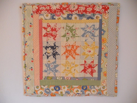 Quilted Table Topper Wall Hanging Retro Stars