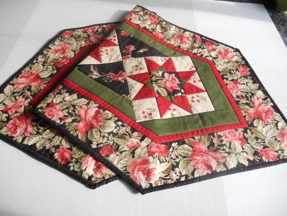 Victorian Valentine Rose Quilted Table Runner Black Burgundy