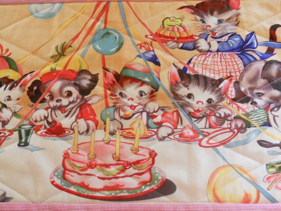 Birthday Celebration Placemat Quilted Vintage Theme Puppies and Kitties