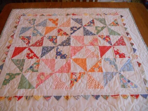Pinwheels Posies Prairie Points Baby Quilt Handmade Vintage Inspired Retro