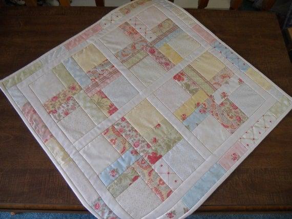 Quilted Table Topper Cottage Chic Scrappy Pastel Florals
