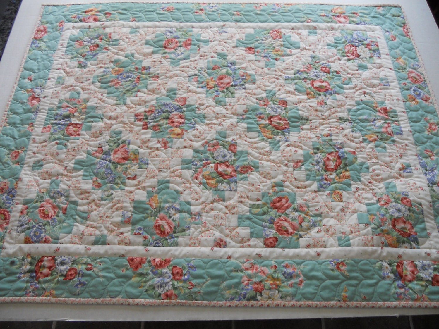 Irish Chain Baby Quilt Wall Hanging Cottage By