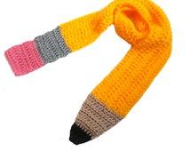 Yellow Crochet Pencil Scarf - Teacher gift, unisex winter scarf, back to school, holiday present, gifts under 30, teacher appreciation gift