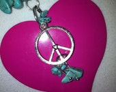 Peace and Love Real Turquoise Heart Pendant Necklace