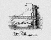 Vintage Bathtub French Instant Download for Iron On Transfer Digital Download for Burlap, Tote Bags, Tea Towels, Pillows 606