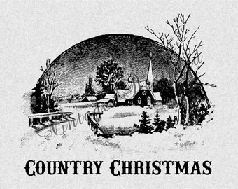 Country Christmas Instant Download for Iron On Transfer Digital Download for Burlap, Tote Bags, Tea Towels, Pillows 546