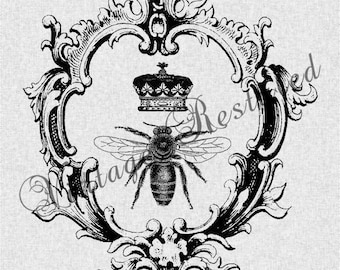 Queen Bee with Crown in Vintage Frame Instant Download for Iron On Transfer Digital Download for Burlap, Tote Bags, Tea Towels, Pillows 187