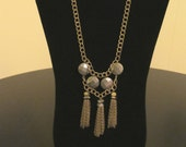 Pyrite and Bronze Chain 3 Tassel Necklace