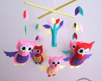 Baby Mobile - colorful owls baby girl mobile - colorful leaves and trees decorate mobile - beautifl pink and red baby crib mobile