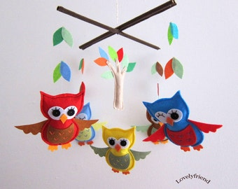 Baby Mobile - autumn owl theme baby mobile - autumn crib mobile - red and yellow owls nursery mobile - autumn theme decorate mobile