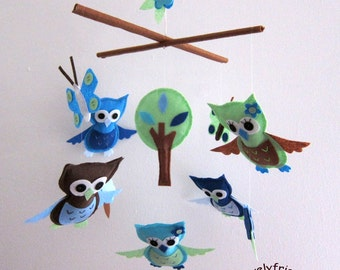 Baby Mobile - blue and green butterflies mobile - blue and green owls crib mobile - blue and green theme baby boy mobile